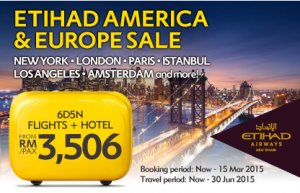 Etihad America & Europe Sale - 6D5N Flights & Hotel from RM 3,506