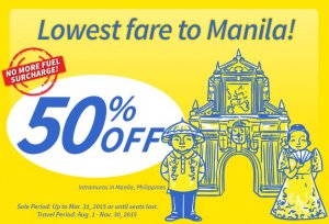 Lowest Fare to Manila! Get 50% Off