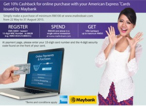 Get 10% Cashback with American Express Cards issued by Maybank from Malindo Air