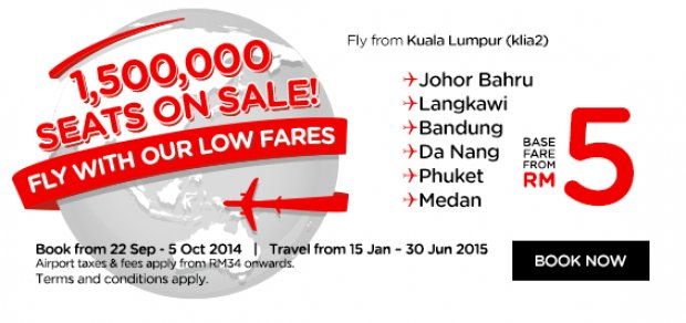 1.5 million seats on sale! Fly with AirAsia's low fares from Kuala Lumpur (klia2)!