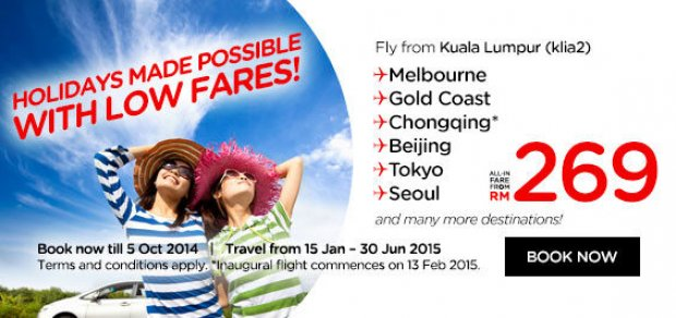 Holidays Made Possible with Low Fares! Fly from klia2 to Australia, China, Tokyo & Seoul