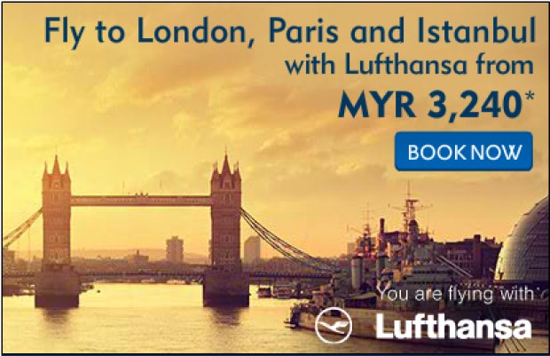 Fly to London, Paris and Istanbul with Lufthansa from MYR 3,200