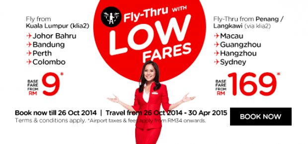 Fly from Kuala Lumpur to Johor Bahru, Bandung, Perth & Colombo from RM9*