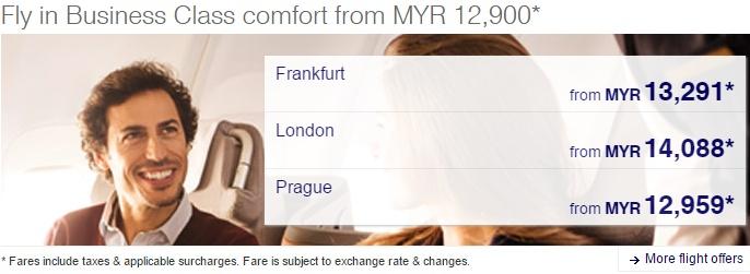 Lufthansa Business Class fares from MYR 12,900*