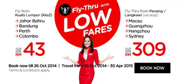 Fly-Thru with Low Fares from RM 43