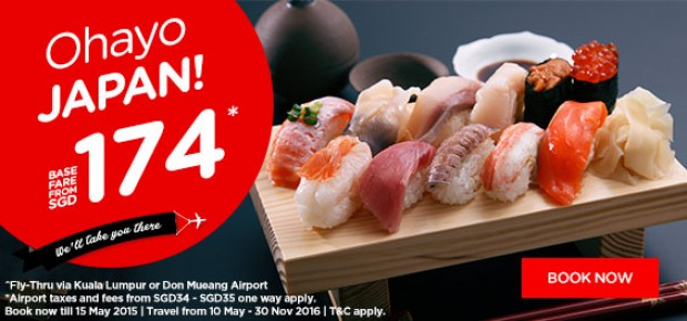 Fly to Japan, Korea and Shanghai from SGD174* with AirAsia