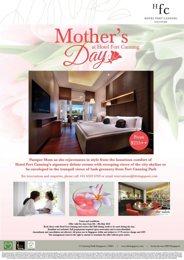 Mother's Day Special from Hotel Fort Canning @ SGD 255++
