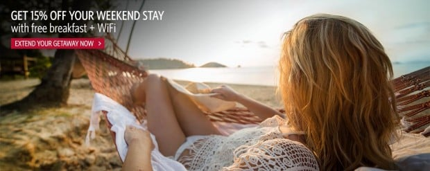 Get 15% off your Weekend stay with free breakfast  WiFi