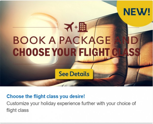 Book a Package & Choose Your Flight Class 1
