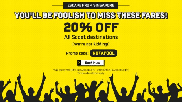 Don't be a Fool this April and Scoot with 20% Off now!