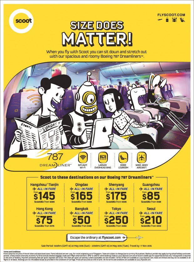 Size Does Matter with Scoot! Fly via Boeing 787 Dreamliners from SGD50