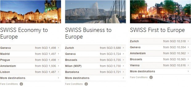 Swiss Offers from Singapore to Europe! 2
