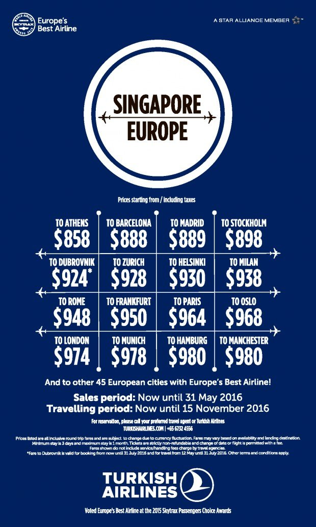 Explore Europe and fly via Turkish Airlines from SGD858