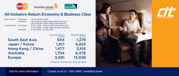 Mastercard Promo - Economy & Business Class All-Inclusive Return Fares