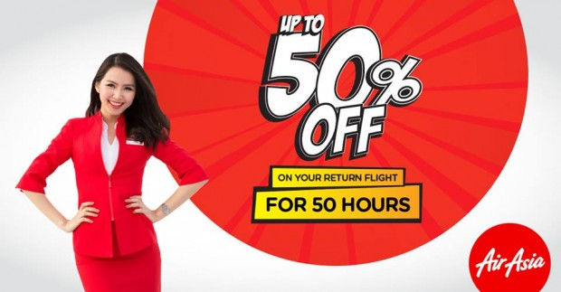 For 50 Hours Only! Up to 50% Off Flight Back Home with AirAsia