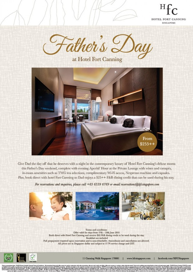 Father's Day Special from SGD255 in Hotel Fort Canning Singapore