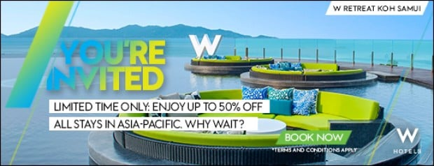 50% Off Stay in W Hotels and Other Participating Starwood Hotels in Asia Pacific