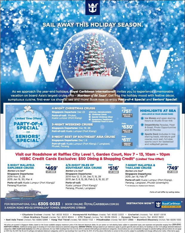 Cruise Deals  Royal Caribbean Cruise Roadshow Nov 713 At Raffles City