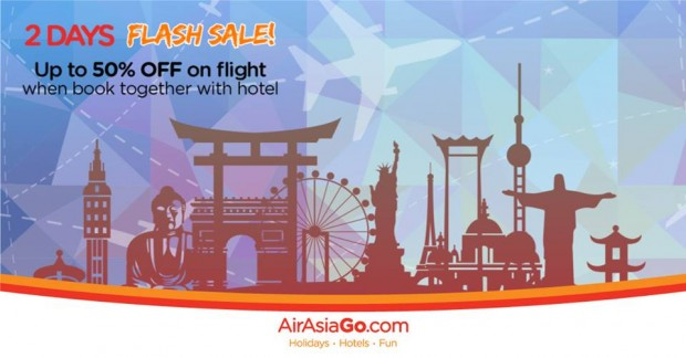 2 Days Flash Sale of Up to 50% Off on Flight when Book with Hotel via AirAsiaGo 1