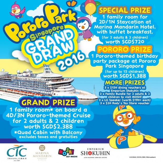WIN Cool Prizes to Pororo Park Singapore Grand Draw 2016