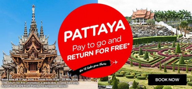 Pattaya - Pay to go, return for FREE* with AirAsia