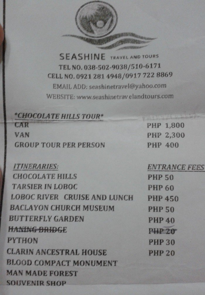 bohol group tour flyer