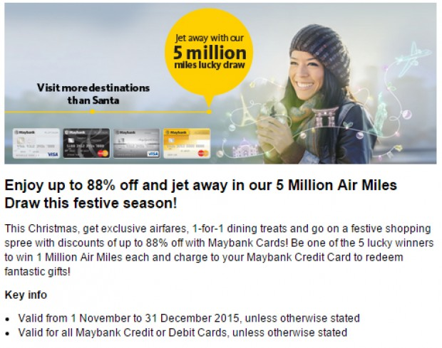 Enjoy up to 88% off and jet away in 5 Million Air Miles! draw this festive Season