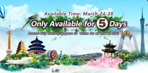 SGD 149 Round-Trip from Singapore to China with China Southern Airlines