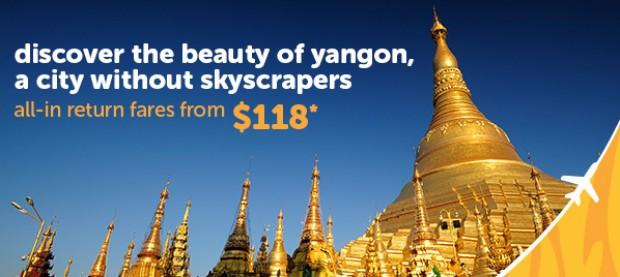 Fly to Yangon via TigerAir from SGD118*