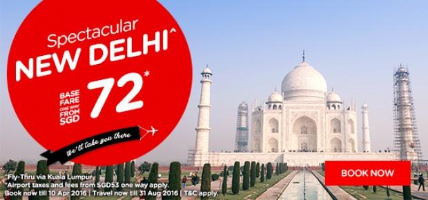 SGD 72 Fare to New Delhi from AirAsia