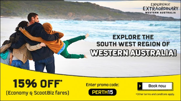 Enjoy 15% Off Selected Fares to Perth with Scoot