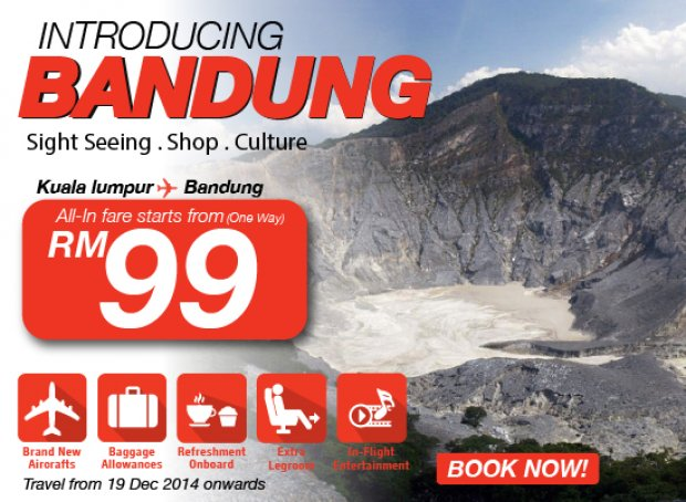 Fly to Bandung Now from RM99