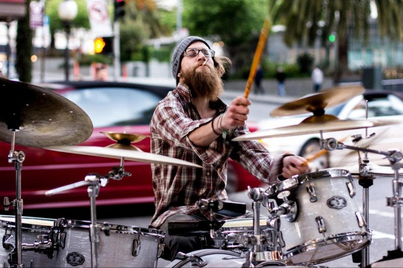 drummer busking on the streets