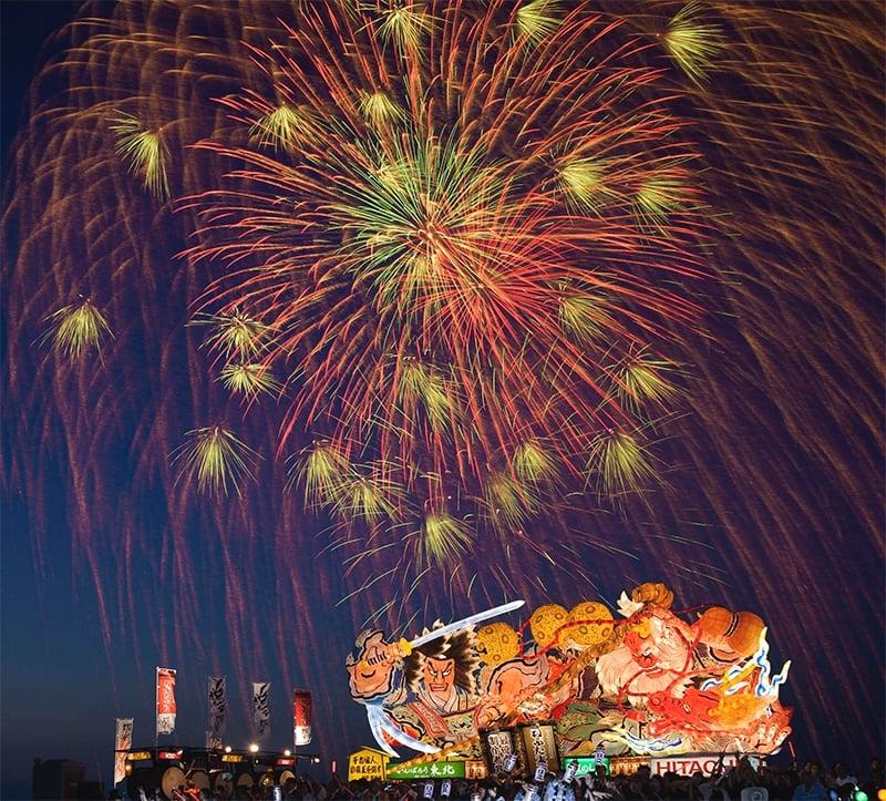 fireworks above nebuta