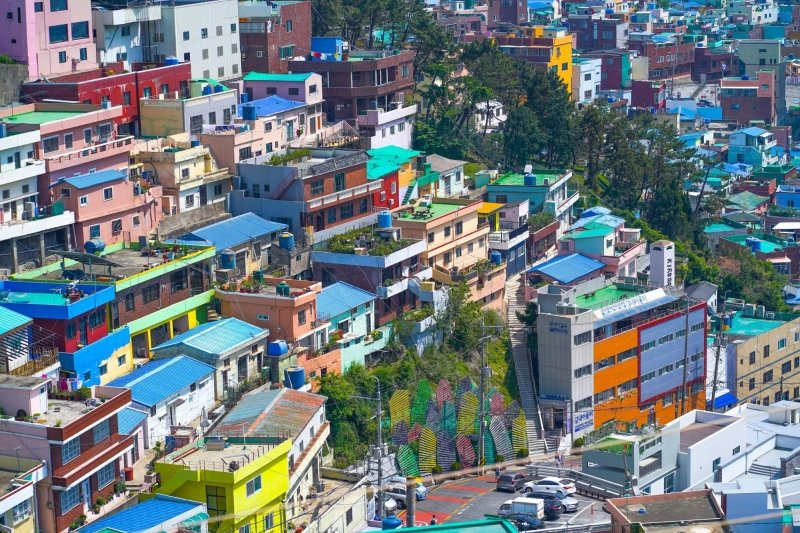 colourful houses in gamcheon culture village