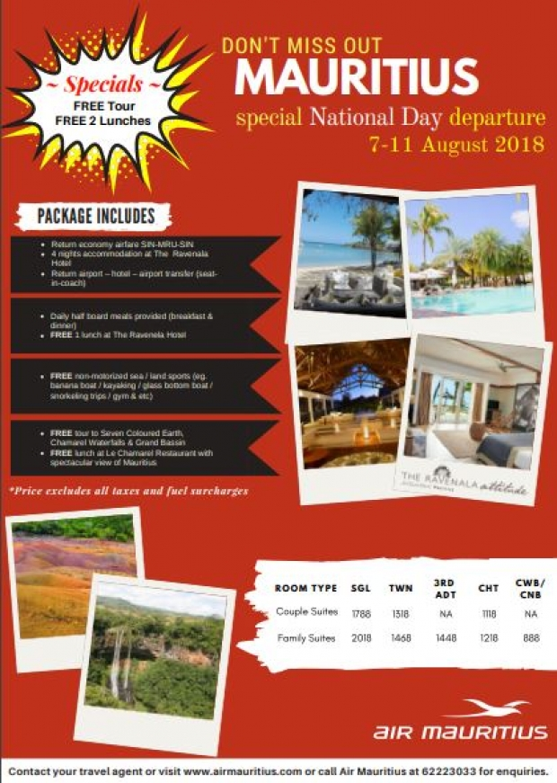 Special National Day Package with Air Mauritius from SGD 1,318 1