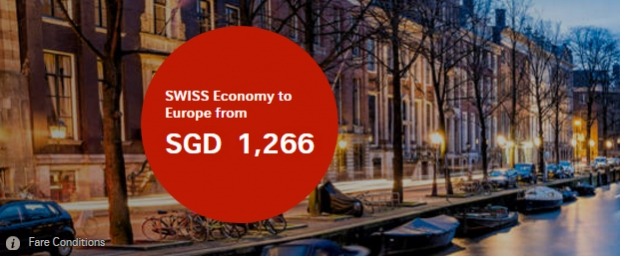 Fly to Europe with SWISS Airlines from SGD1,266