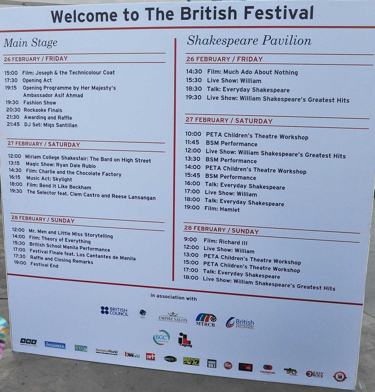 Great British Festival schedule 2016
