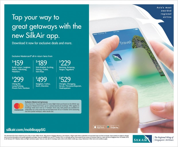 Book SilkAir's Mobile App and Enjoy Exclusive Travel Offerings