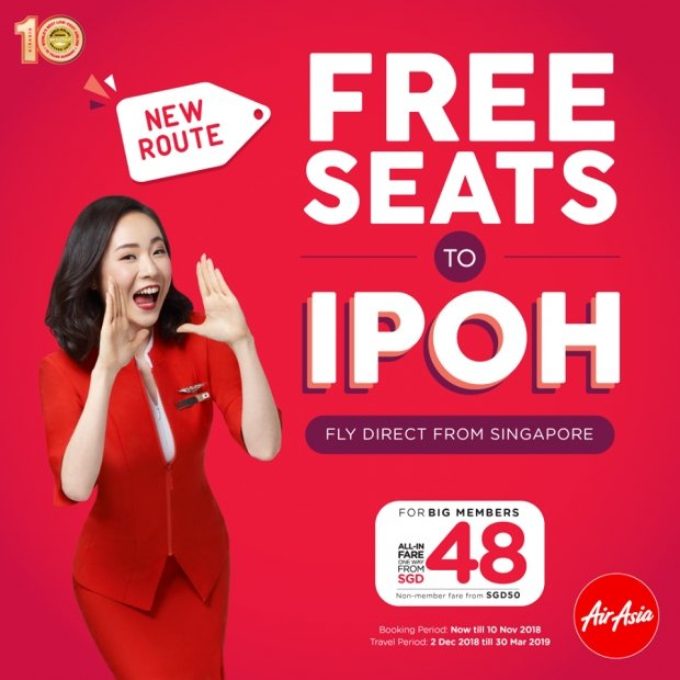FREE* Seats to Ipoh with AirAsia