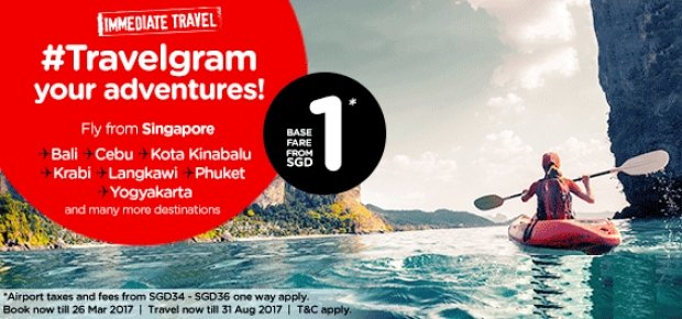Immediate Travel Around Asia from SGD1 via AirAsia