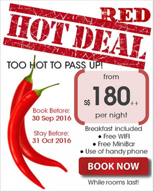 Red Hot Deal from SGD180 at Wangz Hotel