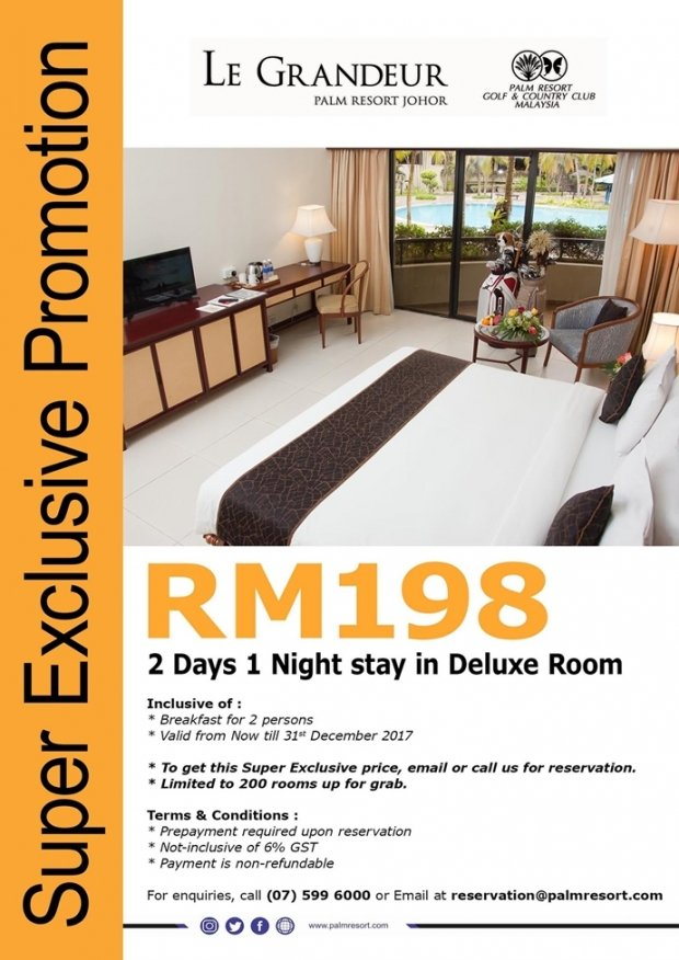 Super Exclusive Room Promotion in Le Grandeur Palm Resort