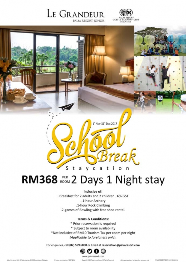 School Break Staycation in Le Grandeur Palm Resort Johor from RM368
