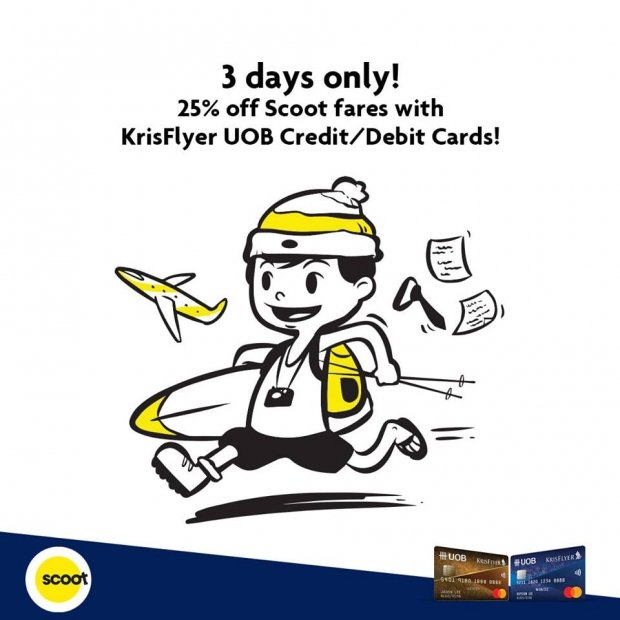 3 Days Only - 25% Off Scoot Fares with UOB Cards