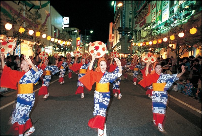Parade performers at yamagata hanagasa festival