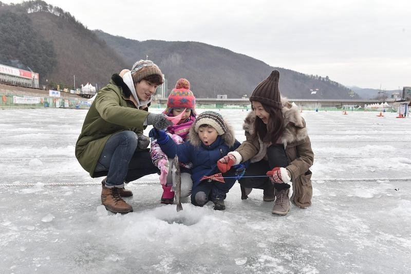 Ice fishing in Gangwon Province