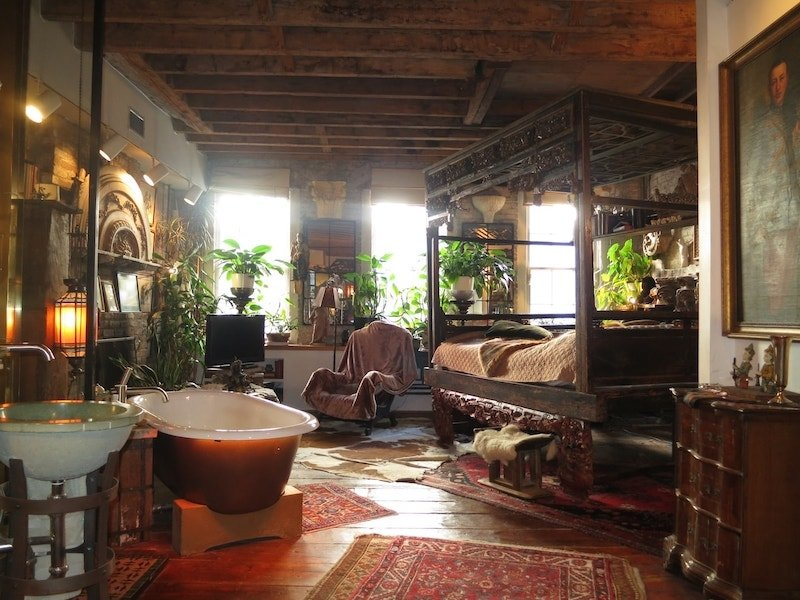 Best Airbnb in NYC with bohemian decor and a fireplace