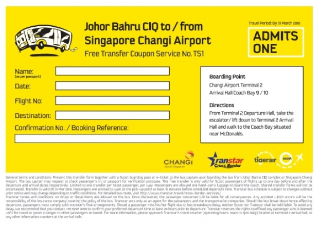 Fly with Scoot and Get a FREE* Bus Transfer Between Johor Bahru & Changi Airport 1