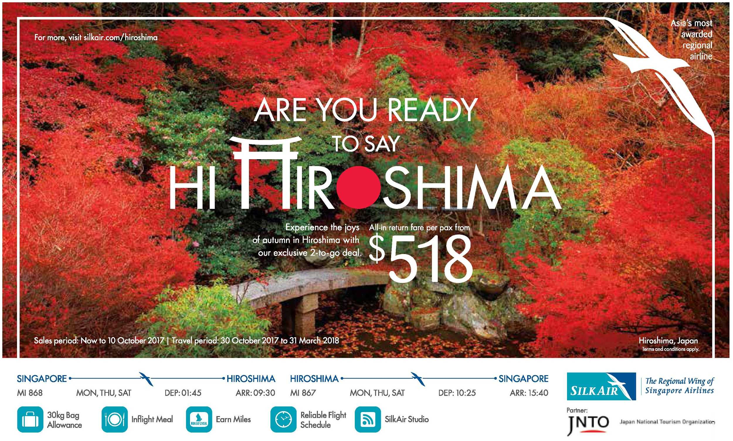 Say Hi to Hiroshima with SilkAir from SGD518